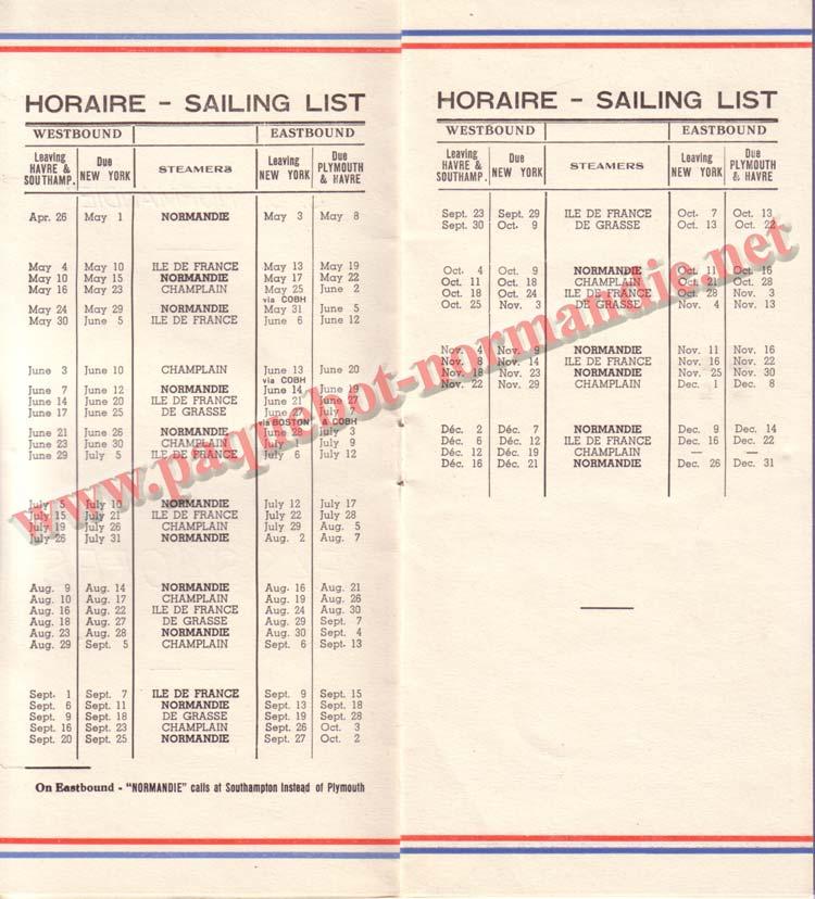 PAQUEBOT NORMANDIE - LISTE DES PASSAGERS DU 10 MAI 1939 - 2ème CLASSE / 2-2