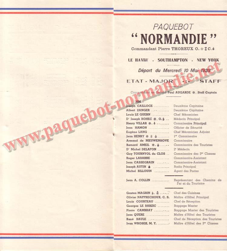 PAQUEBOT NORMANDIE - LISTE DES PASSAGERS DU 10 MAI 1939 - 2ème CLASSE / 2-3