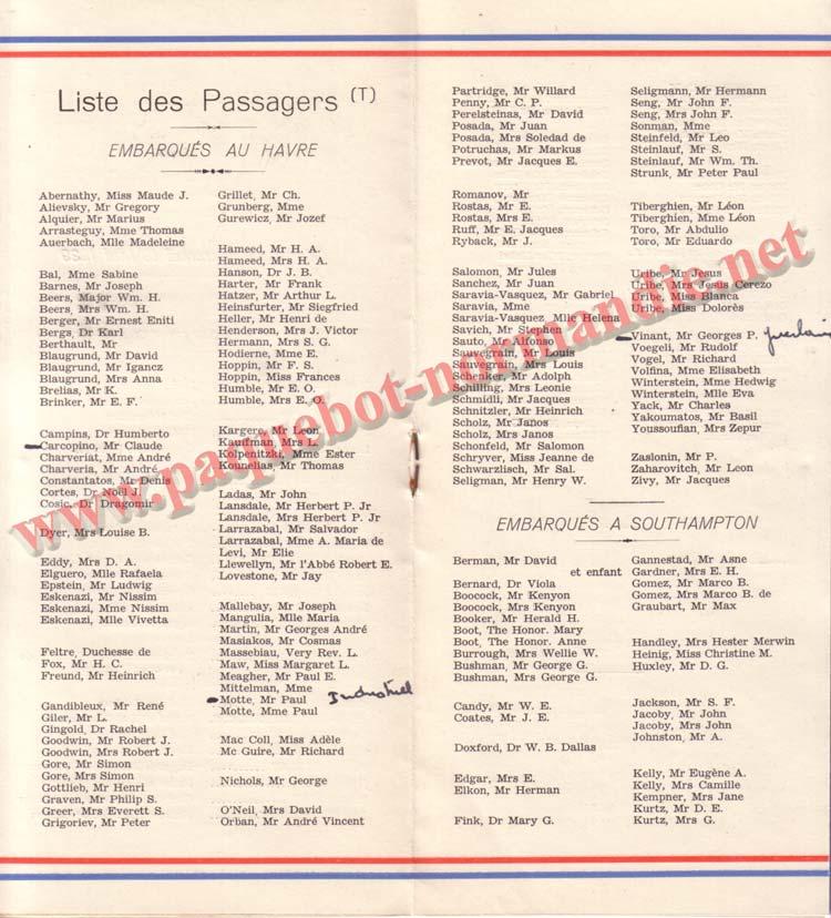 PAQUEBOT NORMANDIE - LISTE DES PASSAGERS DU 10 MAI 1939 - 2ème CLASSE / 2-4