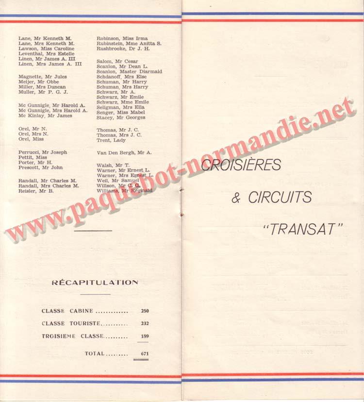 PAQUEBOT NORMANDIE - LISTE DES PASSAGERS DU 10 MAI 1939 - 2ème CLASSE / 2-5