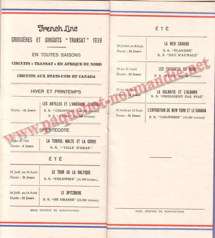 PAQUEBOT NORMANDIE - LISTE DES PASSAGERS DU 10 MAI 1939 - 2ème CLASSE / 2-6