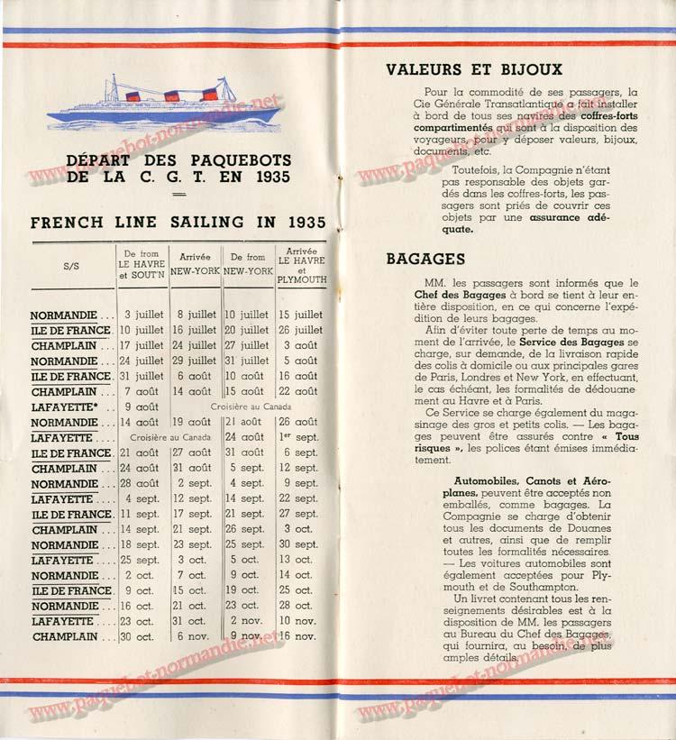 S.S NORMANDIE - LISTE DES PASSAGERS 1ère CLASSE DU 10 JUILLET 1935 - 1-2