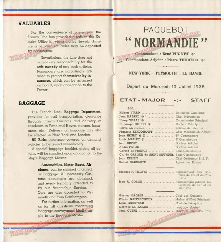S.S NORMANDIE - LISTE DES PASSAGERS 1ère CLASSE DU 10 JUILLET 1935 - 1-3