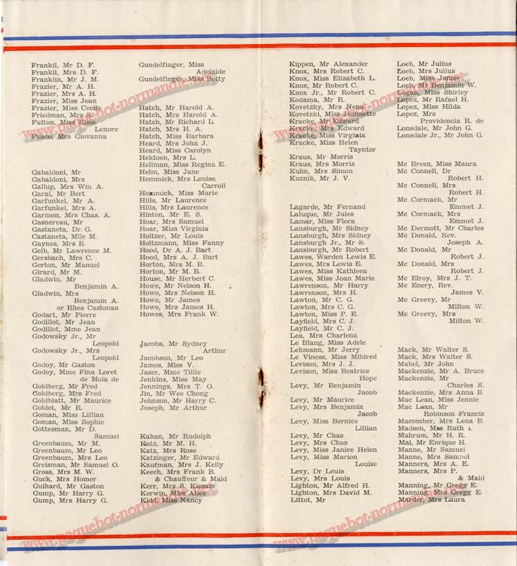 S.S NORMANDIE - LISTE DES PASSAGERS 1ère CLASSE DU 10 JUILLET 1935 - 1-5