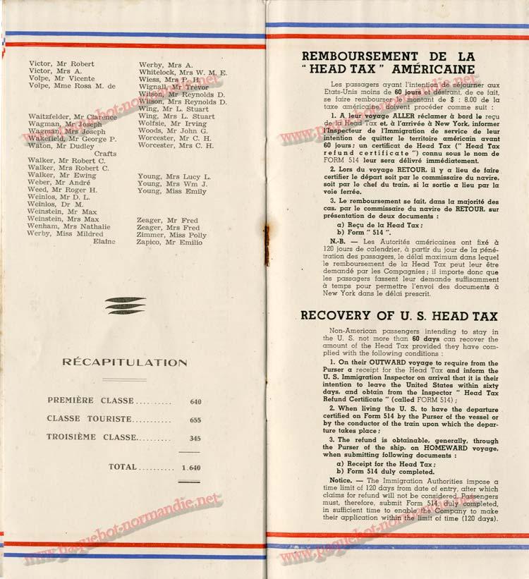 S.S NORMANDIE - LISTE DES PASSAGERS 1ère CLASSE DU 10 JUILLET 1935 - 1-7