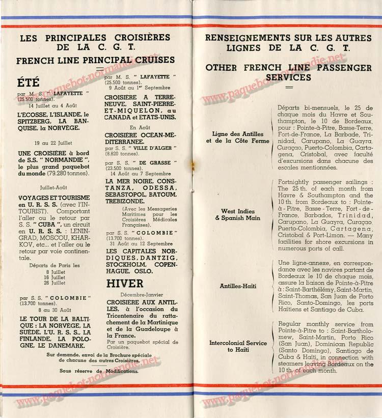 S.S NORMANDIE - LISTE DES PASSAGERS 1ère CLASSE DU 10 JUILLET 1935 - 1-8