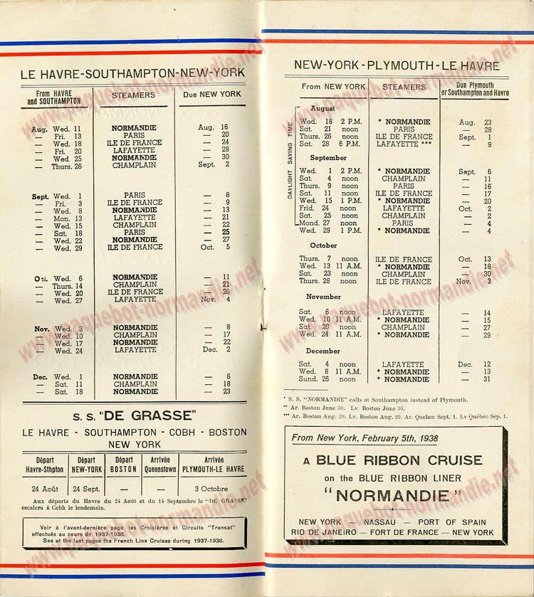 PAQUEBOT NORMANDIE - LISTE DES PASSAGERS DU 11 AOUT 1937 - 1ère CLASSE / 1-2
