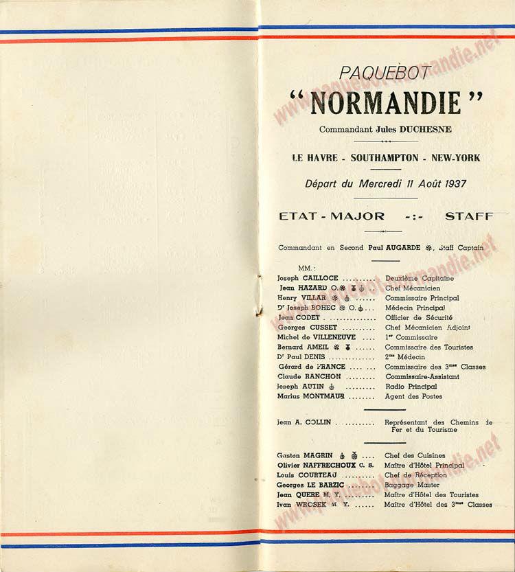 PAQUEBOT NORMANDIE - LISTE DES PASSAGERS DU 11 AOUT 1937 - 1ère CLASSE / 1-3