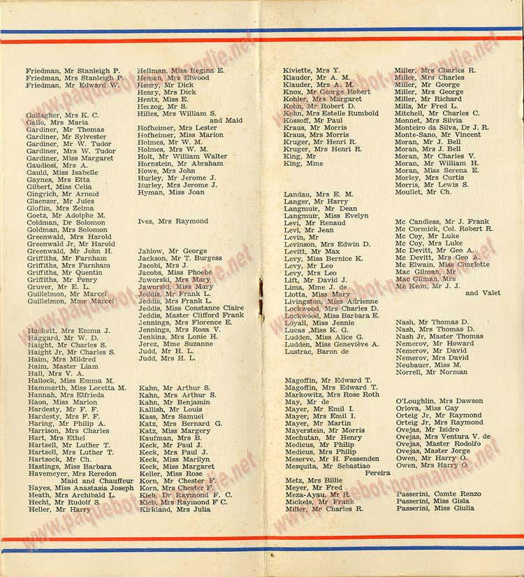 PAQUEBOT NORMANDIE - LISTE DES PASSAGERS DU 11 AOUT 1937 - 1ère CLASSE / 1-5