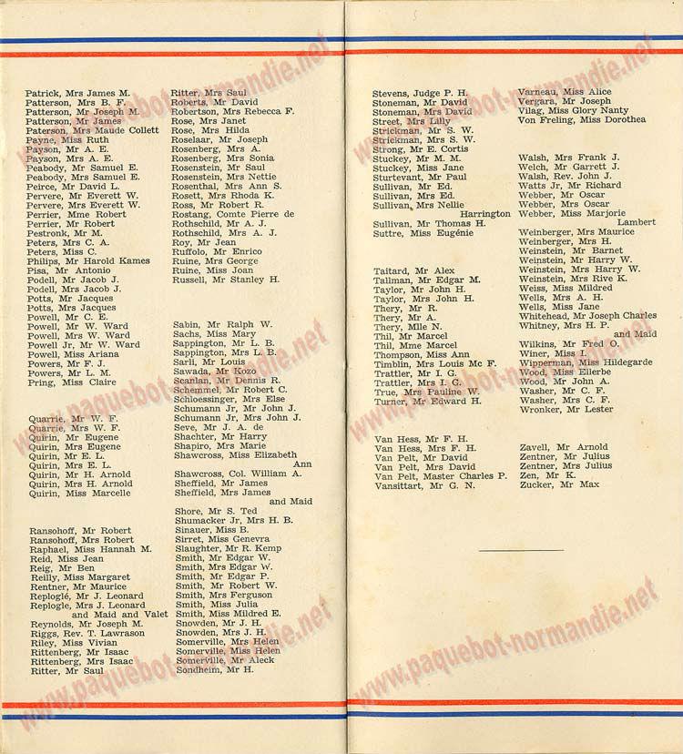 PAQUEBOT NORMANDIE - LISTE DES PASSAGERS DU 11 AOUT 1937 - 1ère CLASSE / 1-6