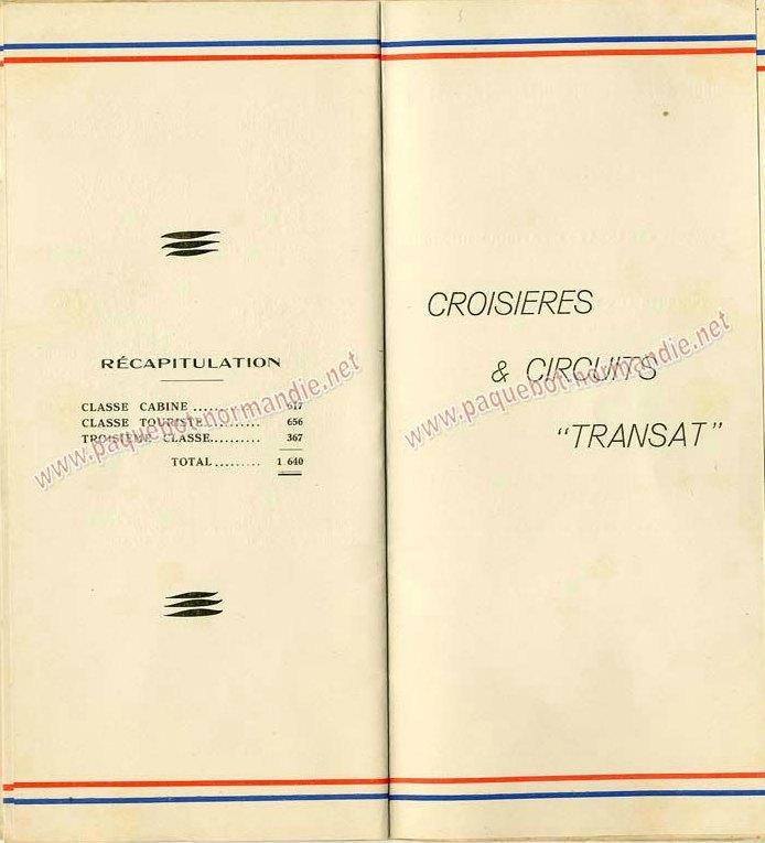 PAQUEBOT NORMANDIE - LISTE DES PASSAGERS DU 11 AOUT 1937 - 1ère CLASSE / 1-7