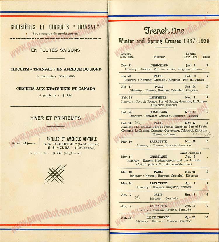 PAQUEBOT NORMANDIE - LISTE DES PASSAGERS DU 11 AOUT 1937 - 1ère CLASSE / 1-8
