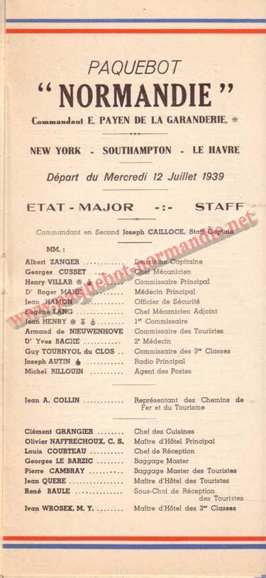PAQUEBOT NORMANDIE - LISTE DES PASSAGERS DU 12 JUILLET 1939 - 1ère CLASSE / 1-1