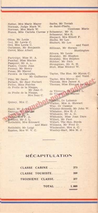 PAQUEBOT NORMANDIE - LISTE DES PASSAGERS DU 12 JUILLET 1939 - 1ère CLASSE / 1-3