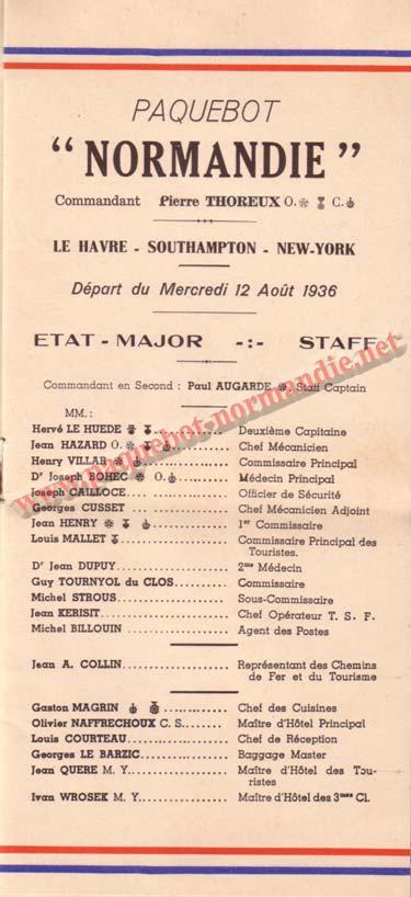 LISTE PASSAGERS DU 12 AOT 1936 - 1ère CLASSE / 1-1