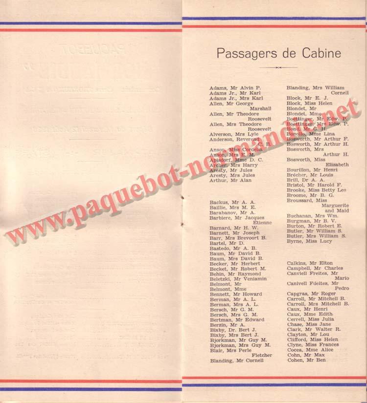 LISTE PASSAGERS DU 12 AOT 1936 - 1ère CLASSE / 1-2