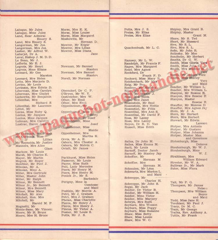 LISTE PASSAGERS DU 12 AOT 1936 - 1ère CLASSE / 1-4