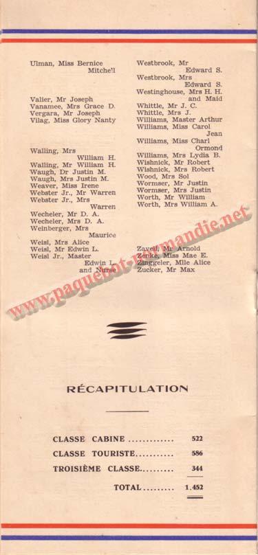 LISTE PASSAGERS DU 12 AOT 1936 - 1ère CLASSE / 1-5