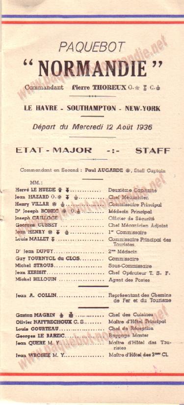 Paquebot s/s Normandie - LISTE PASSAGERS 12.08.36 / 2-1