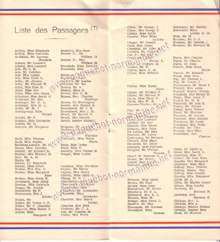 Paquebot s/s Normandie - LISTE PASSAGERS 12.08.36 / 2-2