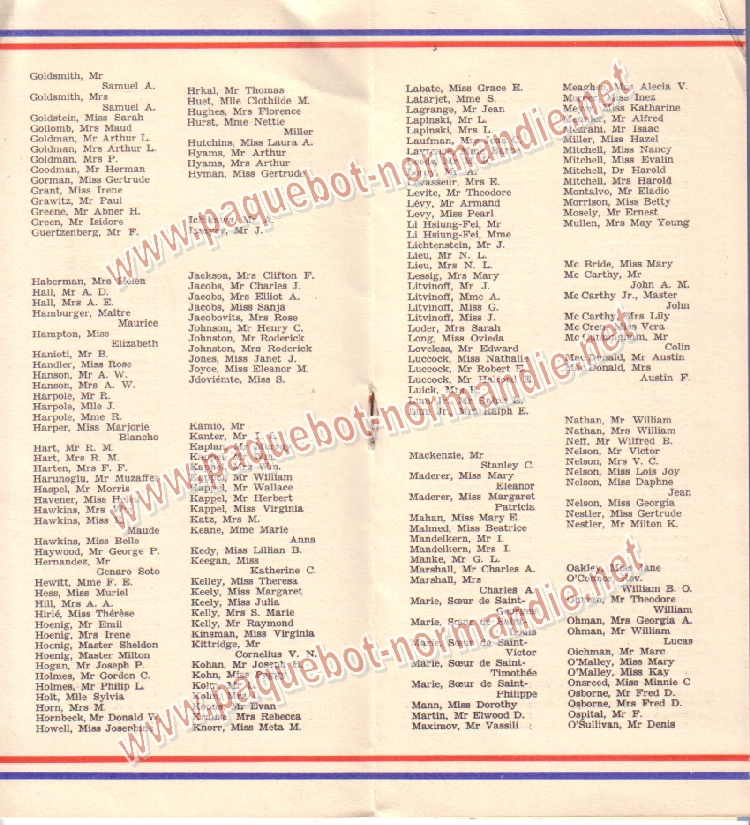 Paquebot s/s Normandie - LISTE PASSAGERS 12.08.36 / 2-3