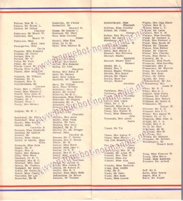 Paquebot s/s Normandie - LISTE PASSAGERS 12.08.36 / 2-4