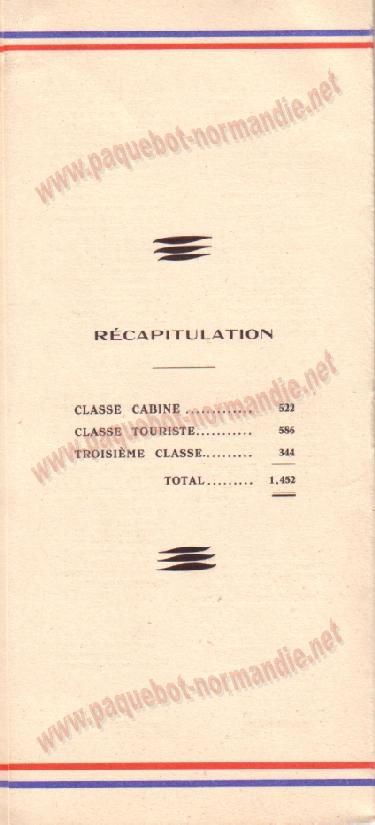 Paquebot s/s Normandie - LISTE PASSAGERS 12.08.36 / 2-5