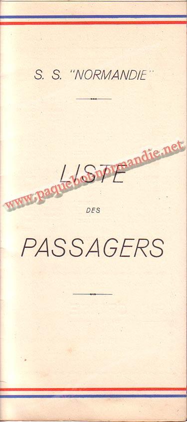 S.S NORMANDIE - LISTE DES PASSAGERS DU 12 OCTOBRE 1938 - 1-1