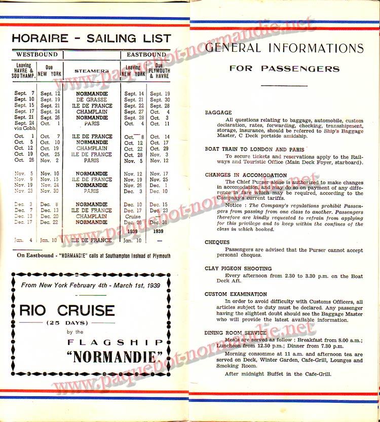 S.S NORMANDIE - LISTE PASSAGERS DU 12 OCTOBRE 1938 - 1ère CLASSE / 1-2