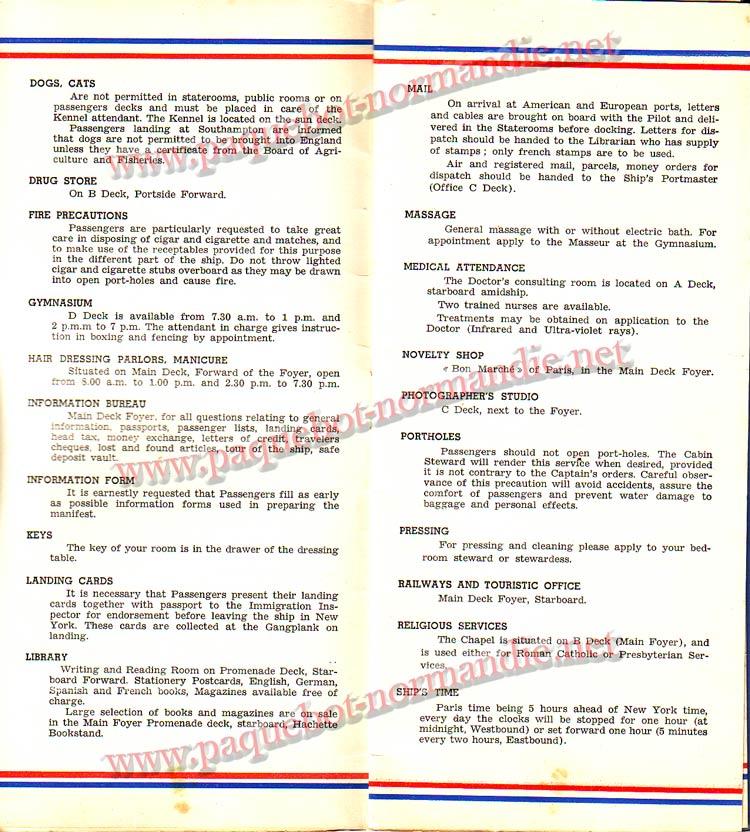 S.S NORMANDIE - LISTE PASSAGERS DU 12 OCTOBRE 1938 - 1ère CLASSE / 1-3