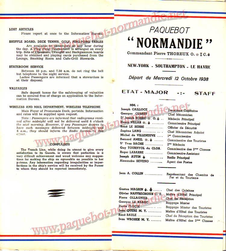 S.S NORMANDIE - LISTE PASSAGERS DU 12 OCTOBRE 1938 - 1ère CLASSE / 1-4