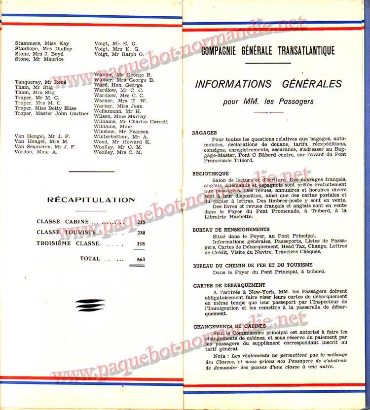 S.S NORMANDIE - LISTE PASSAGERS DU 12 OCTOBRE 1938 - 1ère CLASSE / 1-6
