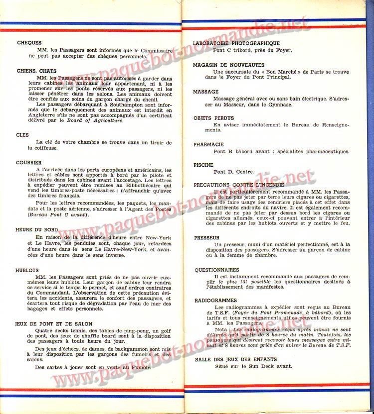S.S NORMANDIE - LISTE PASSAGERS DU 12 OCTOBRE 1938 - 1ère CLASSE / 1-7