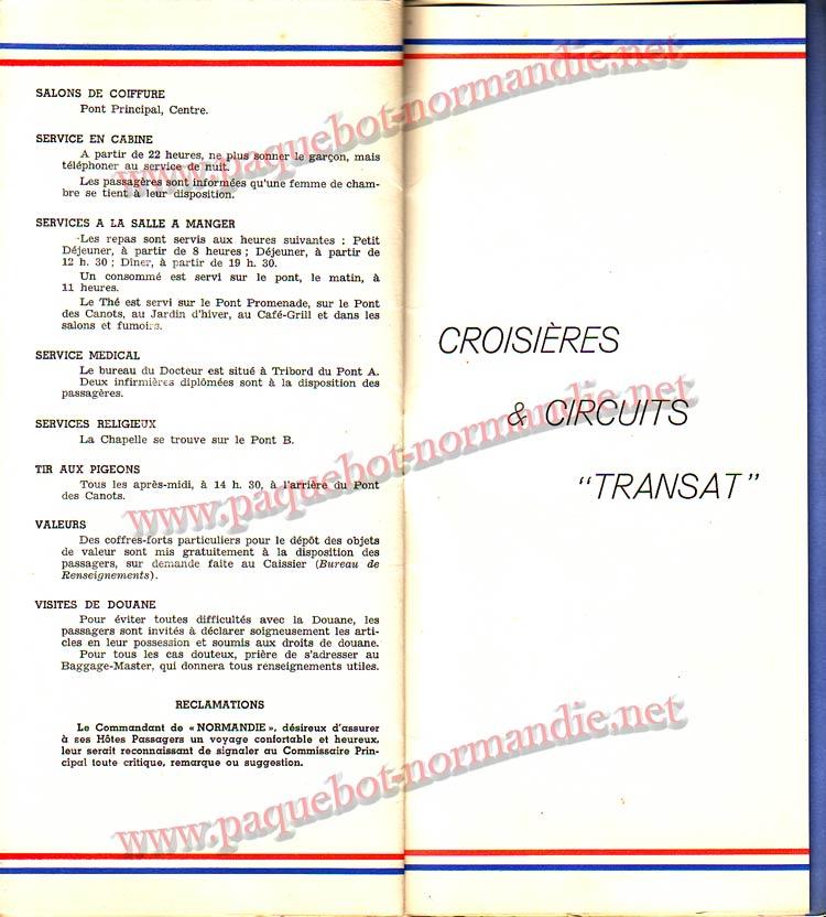 S.S NORMANDIE - LISTE PASSAGERS DU 12 OCTOBRE 1938 - 1ère CLASSE / 1-8