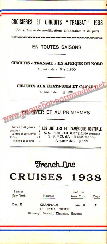 S.S NORMANDIE - LISTE PASSAGERS DU 12 OCTOBRE 1938 - 1ère CLASSE / 1-9