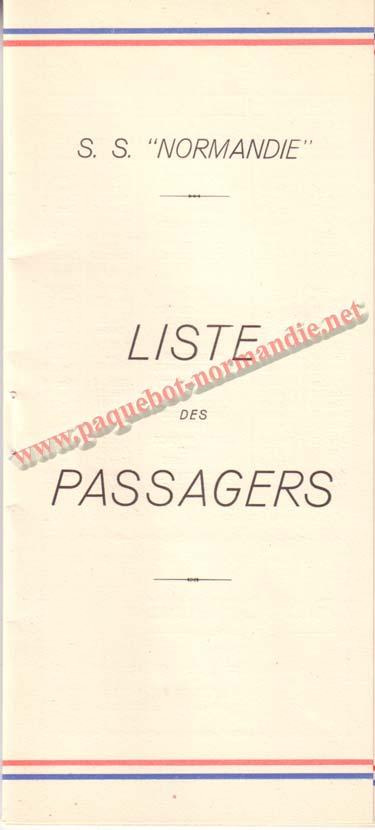 PAQUEBOT NORMANDIE - LISTE DES PASSAGERS DU 12 NOVEMBRE 1938 - 1ère CLASSE / 1-1