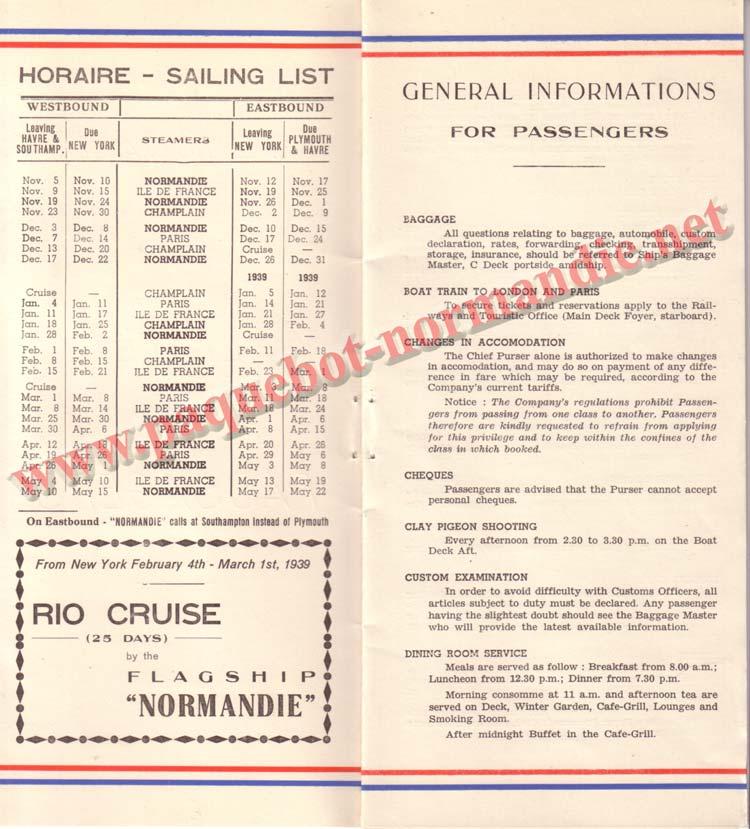 PAQUEBOT NORMANDIE - LISTE DES PASSAGERS DU 12 NOVEMBRE 1938 - 1ère CLASSE / 1-2