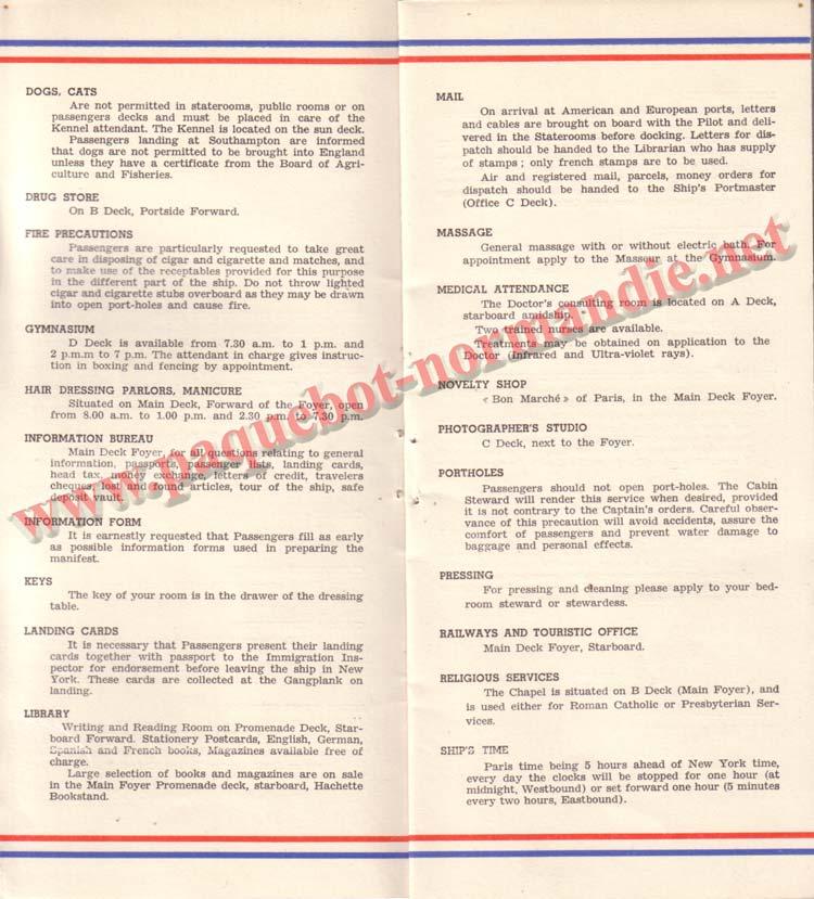PAQUEBOT NORMANDIE - LISTE DES PASSAGERS DU 12 NOVEMBRE 1938 - 1ère CLASSE / 1-3