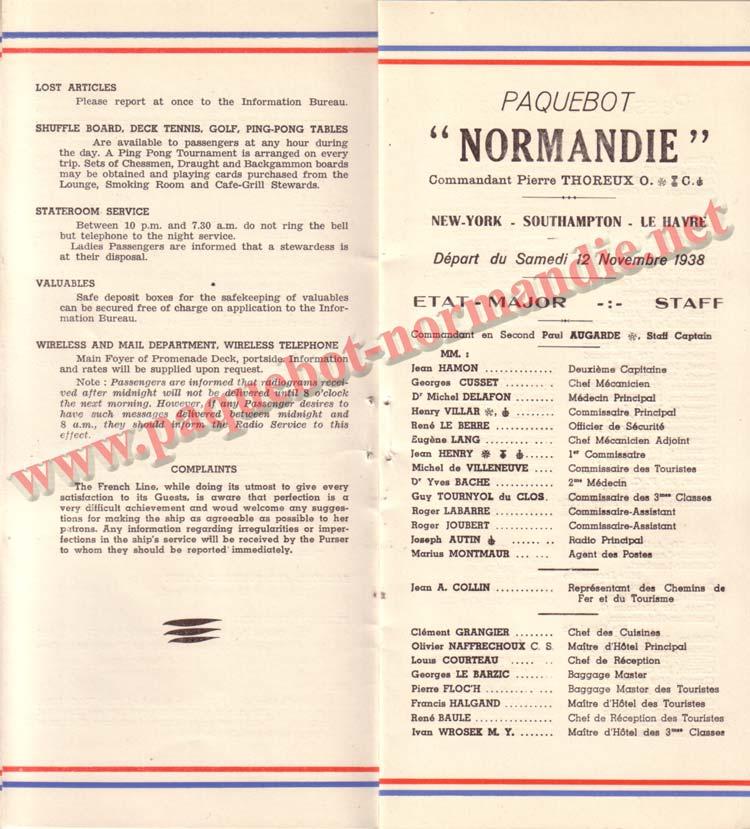 PAQUEBOT NORMANDIE - LISTE DES PASSAGERS DU 12 NOVEMBRE 1938 - 1ère CLASSE / 1-4