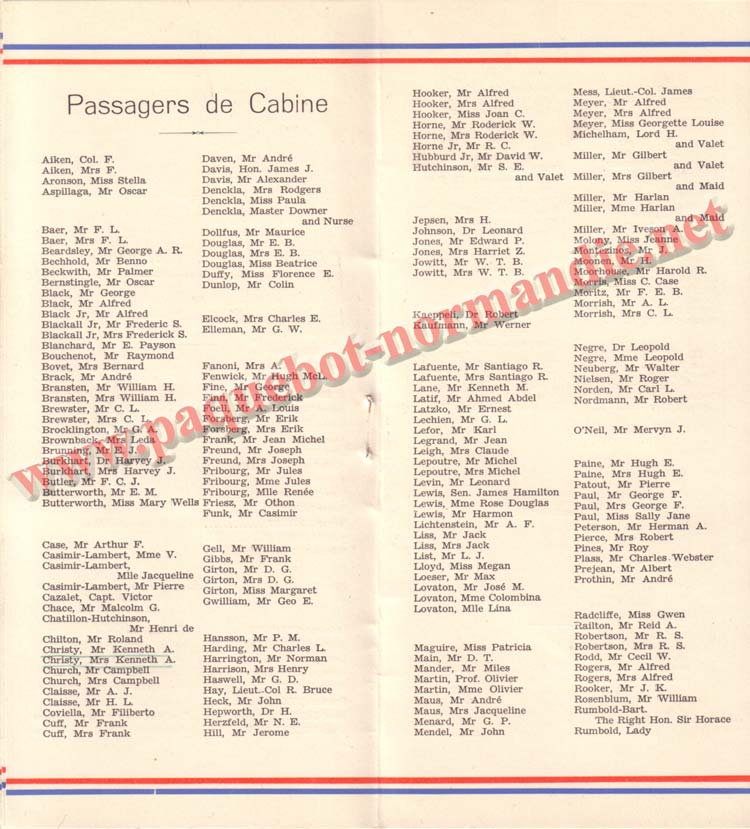 PAQUEBOT NORMANDIE - LISTE DES PASSAGERS DU 12 NOVEMBRE 1938 - 1ère CLASSE / 1-5