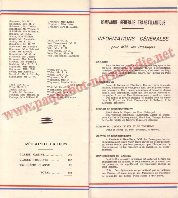 PAQUEBOT NORMANDIE - LISTE DES PASSAGERS DU 12 NOVEMBRE 1938 - 1ère CLASSE / 1-6