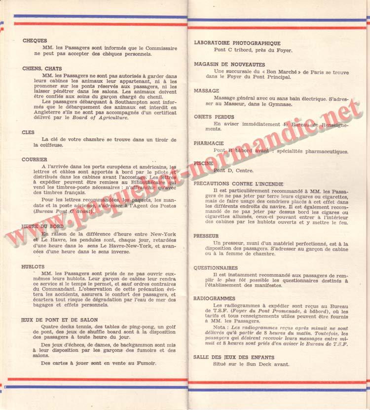 PAQUEBOT NORMANDIE - LISTE DES PASSAGERS DU 12 NOVEMBRE 1938 - 1ère CLASSE / 1-7