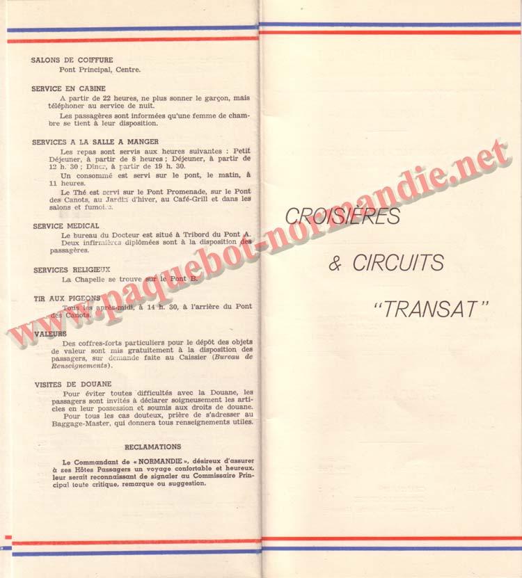 PAQUEBOT NORMANDIE - LISTE DES PASSAGERS DU 12 NOVEMBRE 1938 - 1ère CLASSE / 1-8
