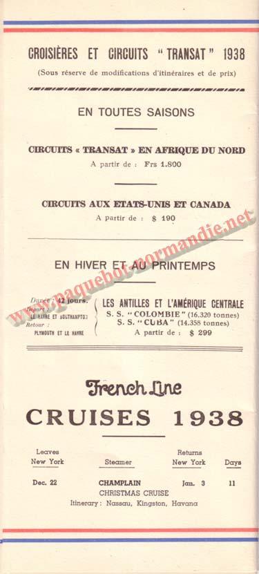 PAQUEBOT NORMANDIE - LISTE DES PASSAGERS DU 12 NOVEMBRE 1938 - 1ère CLASSE / 1-9