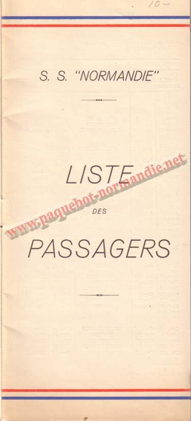 PAQUEBOT NORMANDIE - LISTE DES PASSAGERS DU 13 JUILLET 1938 - 2ème CLASSE / 2-1