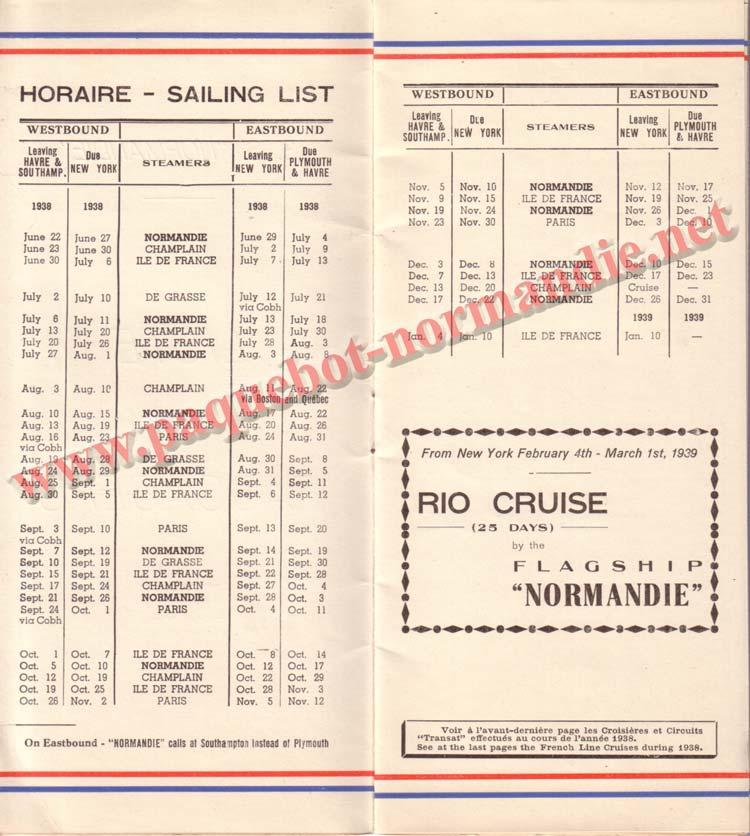 PAQUEBOT NORMANDIE - LISTE DES PASSAGERS DU 13 JUILLET 1938 - 2ème CLASSE / 2-2