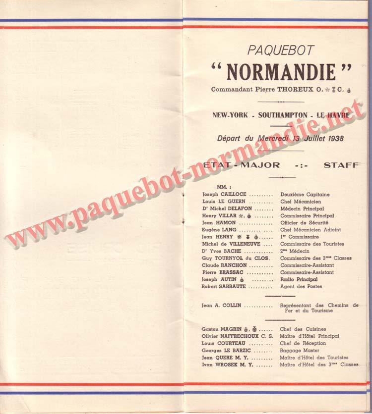 PAQUEBOT NORMANDIE - LISTE DES PASSAGERS DU 13 JUILLET 1938 - 2ème CLASSE / 2-3