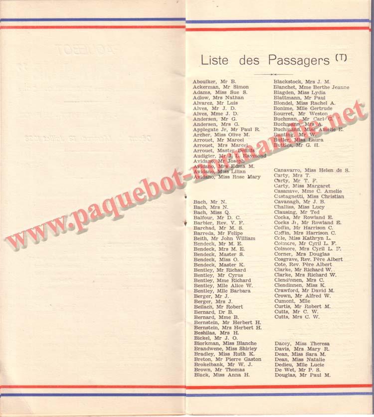 PAQUEBOT NORMANDIE - LISTE DES PASSAGERS DU 13 JUILLET 1938 - 2ème CLASSE / 2-4