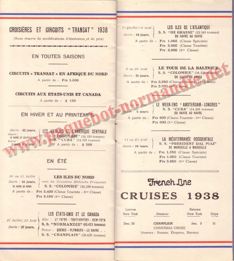 PAQUEBOT NORMANDIE - LISTE DES PASSAGERS DU 13 JUILLET 1938 - 2ème CLASSE / 2-8