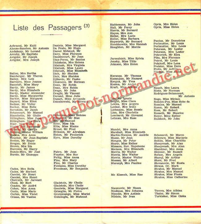 LISTE PASSAGERS DU 14 AVRIL 1937 - 3ème CLASSE / 3-4